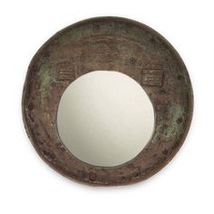 Reclaimed Drum Lid Mirror Grey $55