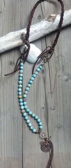 Bohemian leather and faceted Aqua Agate stone necklace