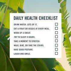 Daily Health Checklist.  http://blog.swell.com/SWELLivin-1120