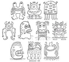 coloring pages - PDF Printable Digital Crazy Monsters Coloring Book Doodle Monster, Monster Drawing, Monster Art, Monster Coloring Pages, Colouring Pages, Coloring Pages For Kids, Coloring Books, Coloring Sheets, Nursery Drawings