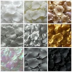 Neutral Silk Rose Petals Metallic Rose Petals #gold #silver #black #white #ivory #grey by LittleThingsFavors #wedding
