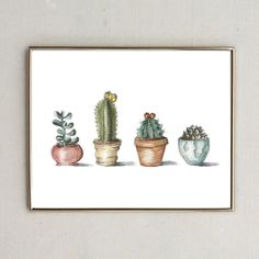 Realistic Potted Cactus Print