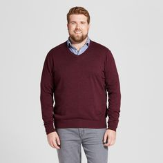 Men's Big & Tall V-Neck Sweater - Goodfellow & Co Burgundy (Red) 2XBT