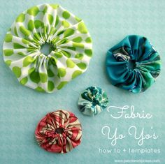 Learn how to make a fabric yo yo. Print off the free templates and follow the hand sewing instructions.
