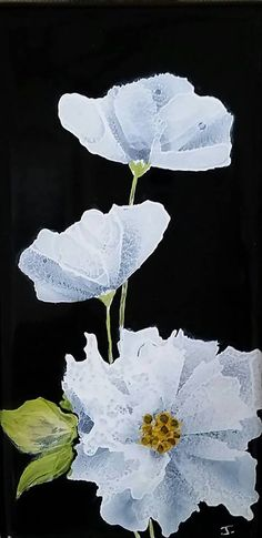 White flower by Jewel Buhay Alcohol Ink on 6x6 tile
