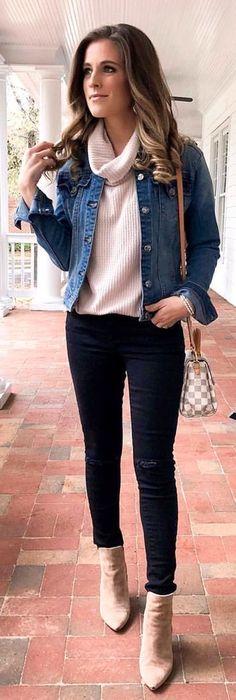 #winter #outfits blue denim jcaket