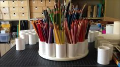 How To Make a Colored Pencil Storage Carousel (Tutorial) - This is amazing! I can't wait to make one.