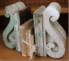 matching vintage corbels with chippy white paint pair up as shabby chic bookends Antique Decor, Vintage Decor, Vintage Books, Vintage Display, Antique Furniture, Salvaged Decor, Repurposed, Architectural Salvage, Architectural Elements