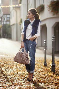 Fur vest & bf jeans