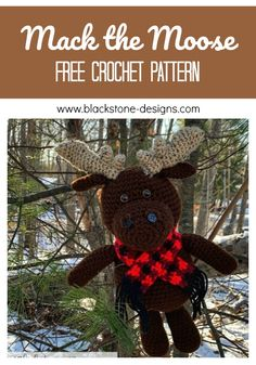 Mack the Moose free crochet pattern from Blackstone Designs  #crochet #freecrochetpattern #amigurumi #stuffedanimal #moose #crochetmoose #mooseamigurumi #crochetamigurumi #freemoosepattern #moosecrochetpattern