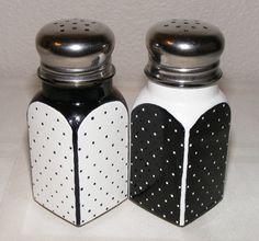 Hand painted glass salt and pepper shakers, asymmetrical black and white with dots, one pair. $15.00, via Etsy.