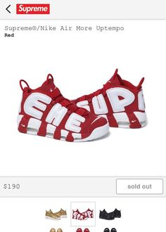 b202c00e7f Supreme X Nike Air More Uptempo Shoes Red White Deadstock Size 10.5  Supreme   BasketballShoes