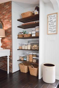 Open Pantry Makeover - Before & After Kitchen Project DIY Open Pantry Makeover + Organizing and Storage Ideas – Cottage kitchen with open shelves – # Kitchen Pantry Design, Kitchen Tops, New Kitchen, Island Kitchen, Food Storage, Diy Kitchen Storage, Storage Ideas, Diy Kitchen Ideas, Diy Storage