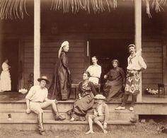Robert Louis Stevenson y familia en la isla de Upolu en Samoa. Fotografía: DP by J. Davis,photograph,circa 1891