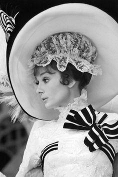 Wearing an oversize hat in My Fair Lady, 1964.