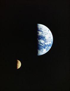 The Moon orbiting around the Earth seen from the interplanetary probe Galileo Half discs