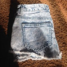 Blue and Pink Acid Wash Shorts In excellent condition! Comfortable fit. The bottoms are sort of fringed. Has stars on the back near top of shorts. Vanilla Star Shorts Jean Shorts
