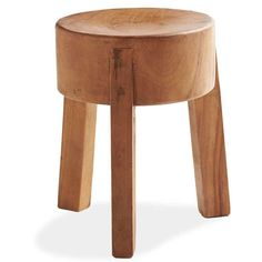 For Handcarved Monkey Pod 3 Leg Stool, we chose the hardwood of the sustainable monkey pod tree (also known as sour wood or the rain tree) because of the tree's wide trunk, which allows furniture artisans to carve the slightly concave, comfortable seat from a single cross-section of the wood. The Handcarved Monkey Pod 3 Leg Stool is fitted with thick pillar legs and serves as functional sculpture in any room of the house. Cracks and natural irregularities are part of its rustic charm.