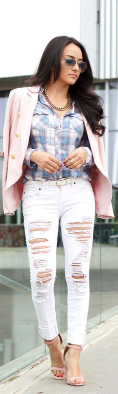 40 Casual And Formal Plaid Shirt Outfits For Women - Stylishwife Warm Outfits, Classy Outfits, Cool Outfits, Casual Outfits, Casual Wear, Plaid Shirt Outfits, Plaid Shirts, Ripped Jeans Style, Estilo Jeans