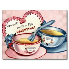 Adorable Tea Cup Valentine for Kids. Vintage Valentine images are lovingly restored for the best printing quality. My Funny Valentine, Valentines Puns, Kinder Valentines, Vintage Valentine Cards, Vintage Greeting Cards, Vintage Holiday, Valentine Day Cards, Happy Valentines Day, Valentine Images