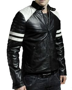Man black biker jacket, Mens leather jacket, black motorcycle Leather jackets fo - Outerwear