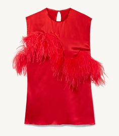 Red satin and feathers Button-fastening keyhole at back polyester, elastane; Andy Williams, Satin Top, Red Satin, Top Rouge, Red Feather, Only Fashion, Who What Wear, Fashion Advice, Ruffle Blouse