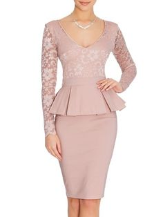 long sleeve peplum dress deep V neck sexy lace dress plus size elegant clothes to work bodycon dress hot women midi dress - Bodycon Dresses Long Sleeve Peplum Dress, Sexy Lace Dress, Lace Peplum, Bodycon Dress, Bodycon Clothes, Sleeve Dresses, Dress Long, Pink Dress, Elegant Outfit