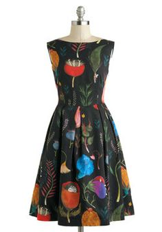 Gasp! I love the vintage cut and whimsical pattern of this adorable dress! Let's Be Surrealistic Dress, #ModCloth