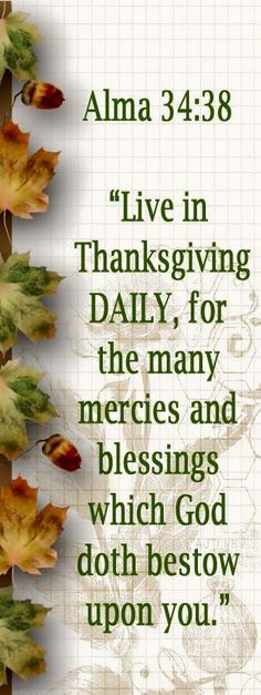 "May we always be grateful–and give thanks to God–for all we are blessed with! •""Gratitude unlocks the fullness of life. It turns what we have into enough."" –Melody Beattie •""Live in thanksgiving daily, for the many mercies and blessings which [God] doth bestow upon you"" (Alma 34:38; the Book of Mormon: Another Testament of Jesus Christ). #GiveThanks"