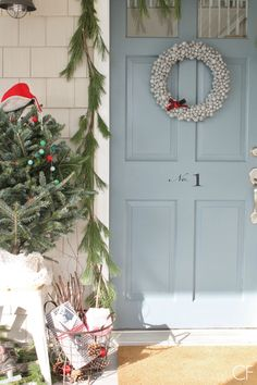 Rustic Christmas Farmhouse Porch-Front Door