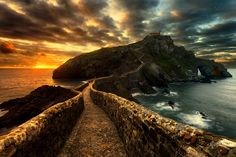The beautiful island of San Juan de Gaztelugatxe near Bilbao in the Spanish Basque Country, connected to mainland by a bridge and 241 steps :) The small church at the top had been built during the 10th century and it appears it has come from the Knights Templar. If you want to see Behind the Scenes, Before/After, you can contact me on my Facebook Page