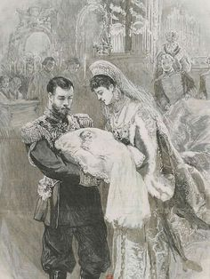 Tsar Nicholas ll of Russia and Empress Alexandra Feodorovna of Russia with their first born,the Grand Duchess Olga Nikolaevna Romanova of Russia.