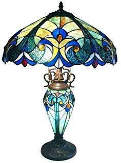 Vintage-style lighting that takes its vibe from the mid-century modern movement. This Victorian Tiffany Style Multi-Colored Glass Table Lamp features a fantastically mod decorative frame that floats over any space elegantly with Stained Glass Table Lamps, Stained Glass Light, Tiffany Stained Glass, Tiffany Glass, Victorian Table Lamps, Antique Lamps, Vintage Lamps, Victorian Art, Victorian Design