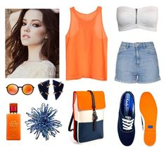 """""""Blue and Orange Combination"""" by marianasm on Polyvore featuring Topshop, Keds, Rains, Ray-Ban, Melissa Joy Manning and Kate Spade"""
