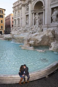 Trevi fountain #engagement session in #Rome Italy.