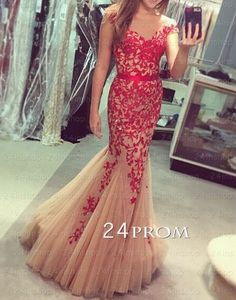 A-line backless Lace Red Tulle Prom Dresses, Lace Evening Dresses – 24prom #prom #promdress #dress