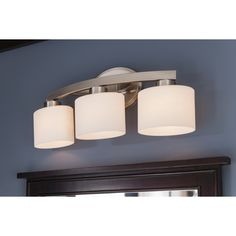 $74 Shop allen + roth 3-Light Merington Brushed Nickel Standard Bathroom Vanity Light at Lowes.com