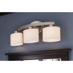 $74 Shop allen + roth 3-Light Merington Brushed Nickel Standard Bathroom Vanity Light at Lowes.com