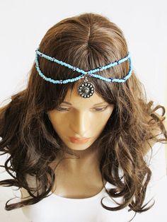 Blue beaded Headpiece Boho Head Jewelry Elastic by selenayselenay, $27.00
