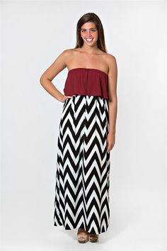 301 Color Me Chevron Maxi Dress - Garnet.