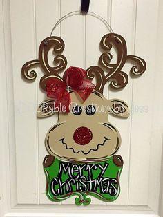 Reindeer Door Hanger, Reindeer, Christmas Door Hanger, Door Hanger, Christmas…