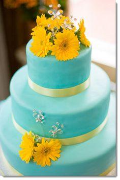 Teal and yellow wedding cake Teal Yellow Wedding, Blue Yellow Weddings, Wedding Colors, Tiffany Blue, Wedding Collage, Wedding Gift Boxes, Wedding Ideas, Blue Cakes, Amazing Wedding Cakes