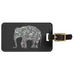 Sold 2nd time! Thank you! Customize Sparkly colourful silver mosaic #Elephant on black Luggage Tag by #PLdesign #SilverMosaic #SilverSparkles #SparklesGift #ElephantGift #SparklesLuggageTag #LuggageTag