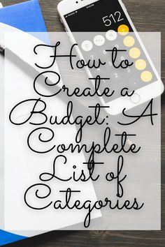 Complete list of budget categories