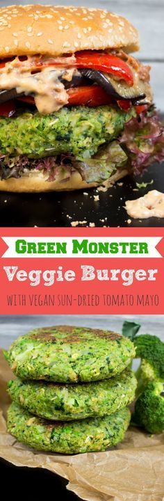 Green monster veggie burger with grilled eggplant, red bell pepper, and sun-dried tomato mayo. The vegan green patty is made of kale, peas, broccoli, and celery.