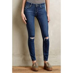 Paige Verdugo Ankle Skinny Jeans ($189) ❤ liked on Polyvore featuring jeans, quinnley destructed, ripped jeans, destroyed jeans, skinny ankle jeans, lined jeans and distressed jeans