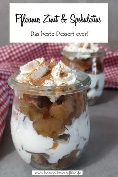 Das beste Pflaumendessert ever mit Zimt und Spekulatius Today I'm going to show you another delicious plum dessert for autumn and Christmas. This time I combined plums, cinnamon and speculoos. Quick Healthy Meals, Healthy Desserts, Easy Desserts, Easy Meals, Dessert Simple, Layered Desserts, Flavored Milk, Salad Ingredients, Snacks