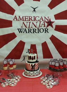 Ninja Warrior Ninjas flying off cake Ninja Birthday Parties, 10th Birthday, Birthday Ideas, America Ninja Warrior, Ninja Cake, Ninjago Party, Party Themes, Party Ideas, Baseball Birthday