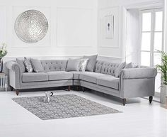 Comfortably seating 5 people, the gorgeous Grey Nina Corner Sofa features a light linen fabric covering, and a combination of traditional Chesterfield-inspired features. Now on sale! Finance available with Linen Corner Sofa, Modular Corner Sofa, Linen Sofa, Linen Fabric, Oak Furniture Superstore, Sofas, Unique Furniture, Bedroom Furniture, Gray Interior
