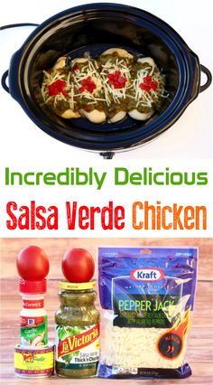 How to Make Salsa Verde Chicken!  Bursting with flavor, this simple crockpot dinner is seriously a fiesta in your mouth! Delicious Crockpot Recipes, Crockpot Dishes, Crockpot Meals, Meat Recipes, Slow Cooker Recipes, Mexican Food Recipes, Chicken Recipes, Recipies, Salsa Verde Chicken Recipe